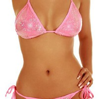 Cloris Murphy Glittery Halter Top Bikini Bathing Suit Swimwear Set BN15SWT One Size Pink