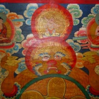 RARE Old Antique Unique Tibetan Handpainted Thangka - Meditation - Buddhist - Enlightenment - No 2