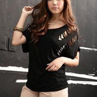 Beauty Black Hollow Out Round Neck Loose T-shirts_S/S Blouses_Wholesale - Wholesale Clothing, Wholesale Shoes, Bags, Jewelry, Wholesale Fashion Apparel &amp; Accessories Online
