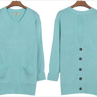 Casual Style Long V-neck Dual Pockets Blue Sweaters_F/W Blouses_Wholesale - Wholesale Clothing, Wholesale Shoes, Bags, Jewelry, Wholesale Fashion Apparel &amp; Accessories Online