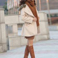 Polish Mature Charming Ladies Hooded Coats Apricot_F/W Coats_Wholesale - Wholesale Clothing, Wholesale Shoes, Bags, Jewelry, Wholesale Fashion Apparel & Accessories Online
