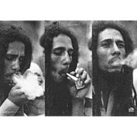 (28x44) Bob Marley - Triple Smoke Portrait Music Fabric Poster