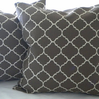 Brown  Moroccan Print pillow cover  indoor/outdoor 18 x 18