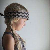 Fall Bandana headband in two tone brown chevron. Geometric boho tribal hair accessories. Can be made in adult size.