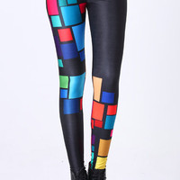 "ROMWE | ""Tetris"" Black Leggings, The Latest Street Fashion"