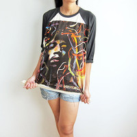JIMI HENDRIX Shirt Hard Heavy Metal Rock Raglan Tee Baseball Jersey T-Shirt Long Sleeve Shirt Size M