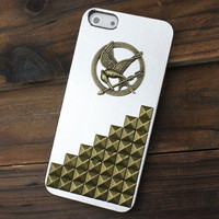 Silvery white Metal Hard Case Cover With Bronze Stud  And Hunger Games Mockingjay for Apple iPhone5 Case,iPhone 5 Case
