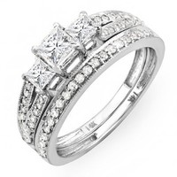 1.00 Carat (ctw) 14k White Gold Brilliant Princess Cut 3 Stone Diamond Ladies Engagement Bridal Rin