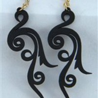 Green Tree Jewelry Scroll Earrings