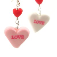 Valentine's Day Candy Heart Inedible Dangle Earrings - Whimsical & Unique Gift Ideas for the Coolest Gift Givers