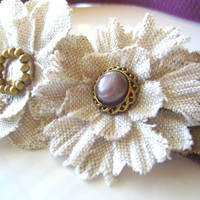 Linen Floral Headband Elastic Pearl Button Gold Beads