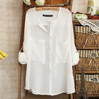 V-Neck White Blouse from Charmaco