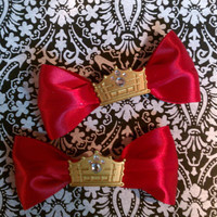 Royal Red Tiara Hair Bows by BrooklynnSkyeGlam on Etsy