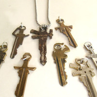 Sword/Gun Key Necklace by smokeanddaggers on Etsy
