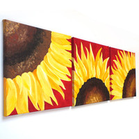 SUNFLOWERS ON RED, Set of 3 12x12 Abstract Paintings, Home and Office Art