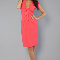 Venni Caprice Ruffle Neck Dress Bright CoralPink : Venni Caprice : Karmaloop.com - Global Concrete Culture