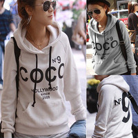Keep Warm New Womens COCO Print Hoodie Coat Sweatshirt Tracksuit Tops Outerwear