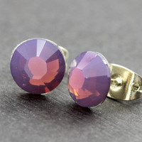 Opal Earrings : Cyclamen Opal Swarovski Crystal Stud Earrings, Sterling Silver Plated Earring Posts, Delicate, Dainty, Everyday