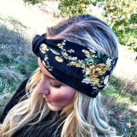 Floral Knit Headband Slip on Wide Headband Head Wrap Stretchy Turband Headbands Vintage Yellow Flower