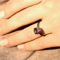 Rainbow Quartz Ring, 4 prong Solitaire with Rainbow Quartz in Oxidized Sterling Silver