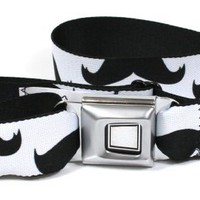 Buckle-Down Black on White Mustaches Seatbelt Belt