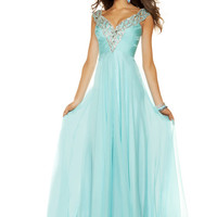 Aqua Satin & Chiffon Encrusted Deep V Off the Shoulder Long Evening Dress - Unique Vintage - Cocktail, Pinup, Holiday & Prom Dresses.