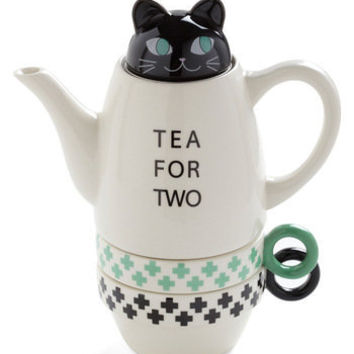 Paw Me a Cup Tea Set in Green and Black | Mod Retro Vintage Kitchen | ModCloth.com