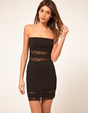 ASOS | ASOS Bandeau Dress with Lace Insert at ASOS