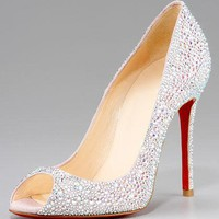 Christian Louboutin Crystal Encrusted Suede Pump - $185