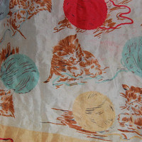 vintage silk scarf cats/kittens by oldasnails on Etsy