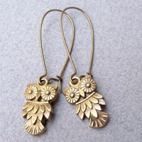 Owl Earrings Perfect Everyday Antique Brass by LilyLeighs on Etsy