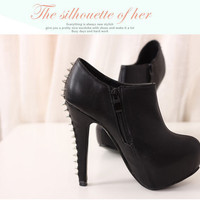 Women's Spike Ankle Booties Stiletto Platform High Black Heel Shoes Club Shoes