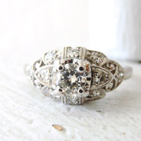 Art Deco Vintage Platinum .46 carat Diamond Engagement Ring