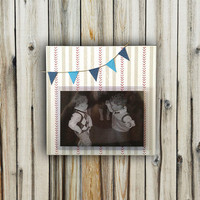 Baby Boy Baseball/Bunting Frame - 6x6 Base with 3.5x5 Horizontal Photo - Wall or Tabletop Decor