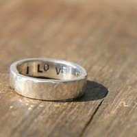 Personalized Jewelry  - Secret Message Ring -  Posey Ring - Silver Stamped Ring - Personalized Ring