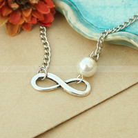 Karma pearl necklace-vintage karma love necklace-infinity  necklace