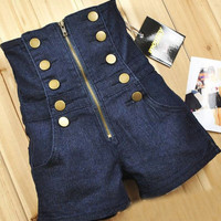 Zipper High Waist Shorts