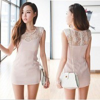 Light Pink Lace Embroidery Sleeveless Slim Dress
