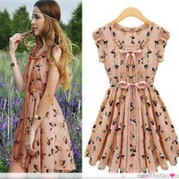 Chic Womens  Print Casual Chiffon Dress S M L XL