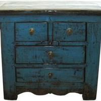 One Kings Lane - Vintage + Market Finds - Blue Side Chest