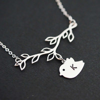 PERSONALIZED Initial Bird with Branch Necklace, initial necklace, gift for friend  friendship gift for her mothers gifts