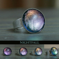 Nightfall Color Shifting Antique Silver Ring by moonlightmine