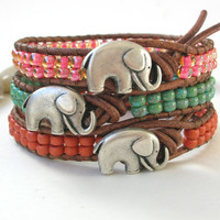 Elephant Bracelet - Lucky Girl - Bohemian jewelry YOUR CHOICE terracotta, turquoise, topaz pink, leather wrap friendship bracelet, good luck