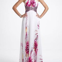 Long Chiffon Floral Print Prom Dress - David's Bridal - mobile