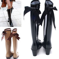 BRAND NEW CUTE RIBBON RAIN BOOTS KNEE HIGH BOOTS ESSENCIAL ITEM FOR RAINY DAY!