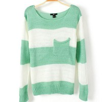 Striped loose sweater D12new