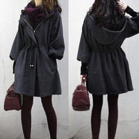 NEW Womens Slim WOOL Trench Coat Parka Jacket Fashion Outerwear