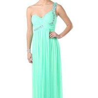 one shoulder stone beaded empire waist baby doll long prom dress - debshops.com