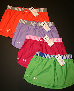 Under Armour Women&#x27;s Play Up 3&quot; Shorts 1228385 Orange Pink Purple Green New