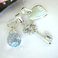 Sterling silver heart and key charm blue mystic quartz necklace